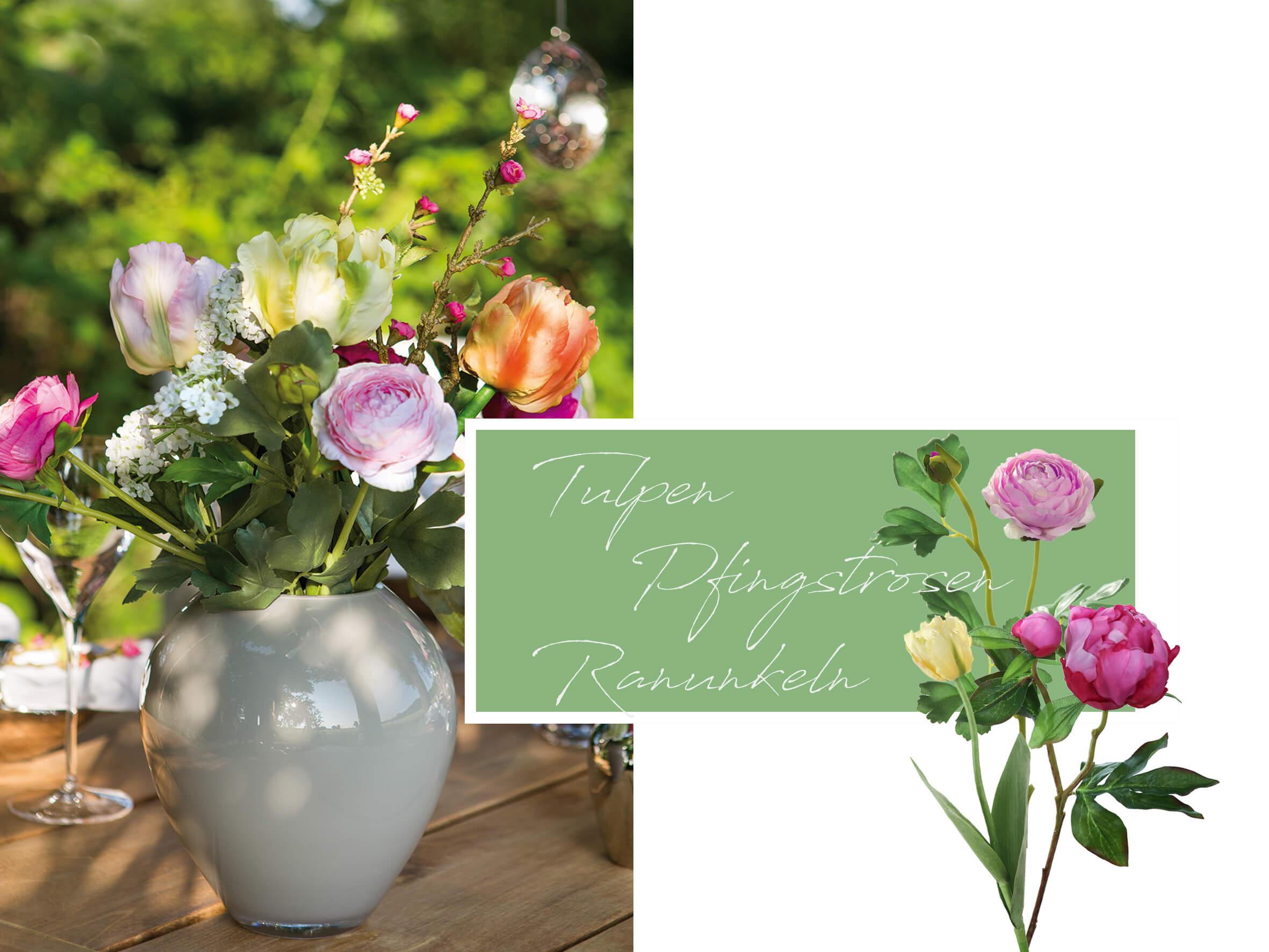 Blumendekoration mit Tulpen, Pfingstrosen und Ranunkeln.