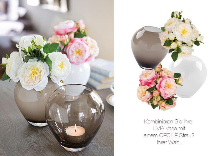 Blumendeko: CECILE Strauß mit LIVIA Vase kombinieren