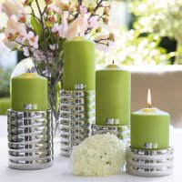 metallic Stumpenkerze Candle 123735 mit Dekoration